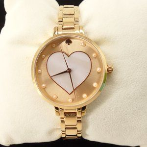 NEW Kate Spade Heart Rose Gold Gramercy Watch